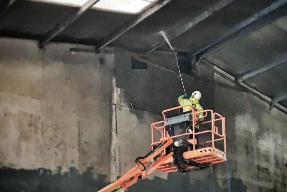 Power Washing High Ceiling